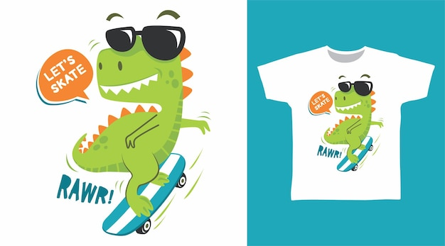 Design fofo de camiseta de skate de dinossauro