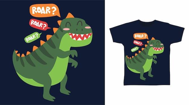 Design fofo de camiseta rugido de dinossauro verde