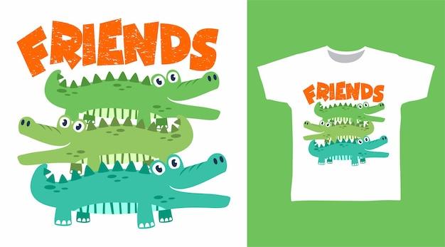Design fofo de camisetas de amigos crocodilo