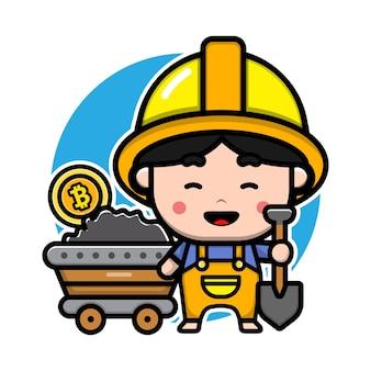 Design fofo de personagens mineiros de bitcoin