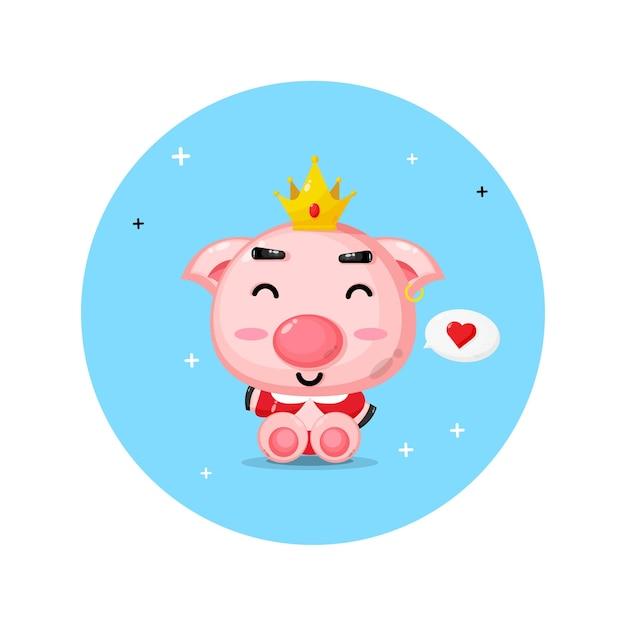 Design fofo de porco rei