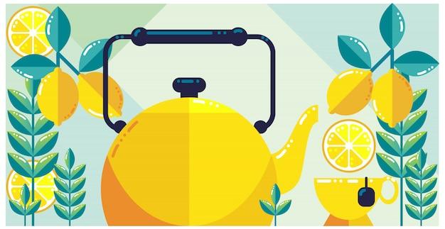 Design fresco de chá de limão