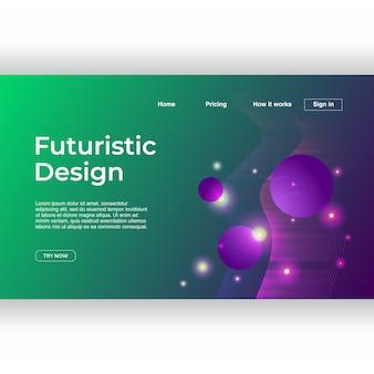 Design futurista criativo da página de destino com geométrica abstrata