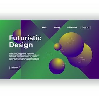 Design futurista criativo da página de destino com multicolor abstrato