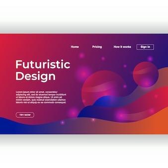 Design futurista criativo do modelo de página de destino