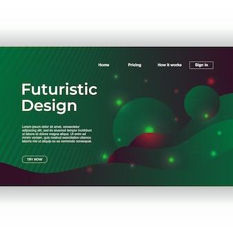Design futurista da página de destino com abstrato geométrico