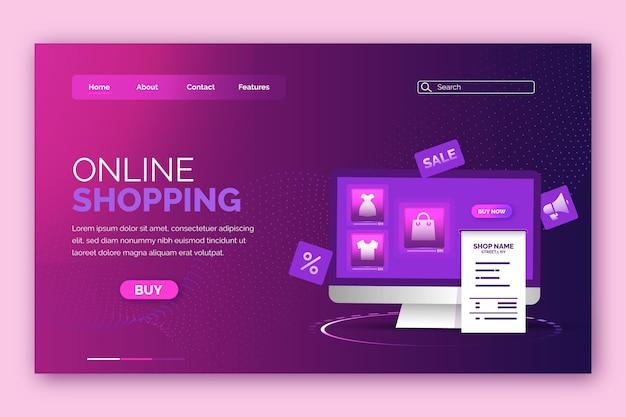Design futurista da página de destino de compras on-line