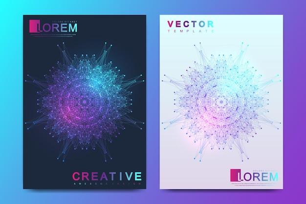 Design futurista de ciência e tecnologia. apresentação com mandala. plexo de linhas. tamanho a4