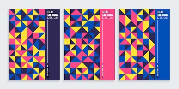 Design geométrico de capas mínimas com formas coloridas