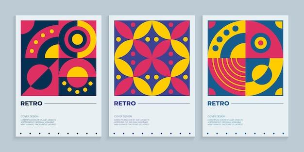 Design geométrico de capas retrô coloridas