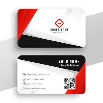 Design geométrico de cartão de visita vermelho