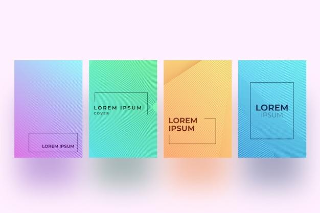 Design gradiente de meio-tom da coleção de capas
