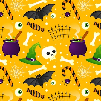Design gradiente de padrão de halloween