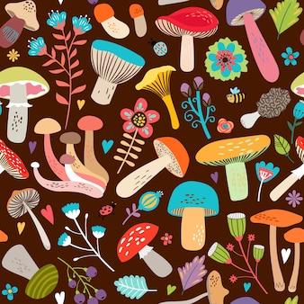 Design gráfico atraente de várias folhas e cogumelos em fundo marrom sem emenda.