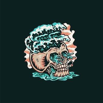 Design gráfico da camisa da praia do verão do crânio, estilo de linha desenhada à mão com cor digital