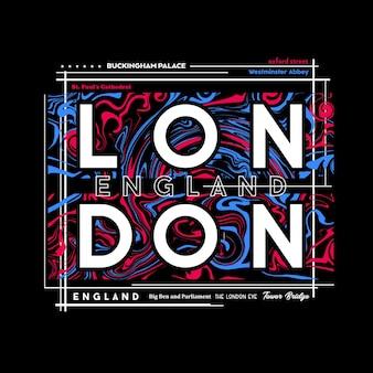 Design gráfico da camiseta de londres em estilo abstrato.