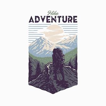 Design gráfico da camiseta hike adventure, estilo de linha desenhada à mão com cor digital