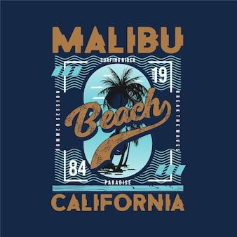 Design gráfico da costa oeste da califórnia da praia de malibu com tema de verão e palmeira