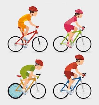 Design gráfico de bicicleta e ciclismo