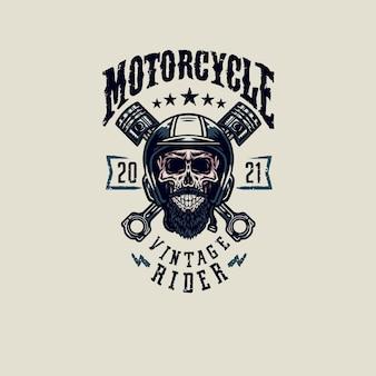 Design gráfico de camiseta vintage rider caveira, estilo de linha desenhada à mão com cor digital