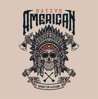 Design gráfico de camisetas nativas americanas, estilo de linha desenhada à mão com cor digital