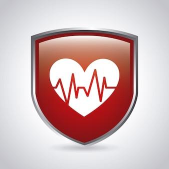 Design gráfico de escudo médico
