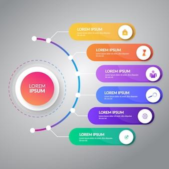 Design gráfico de informação com seis rótulos