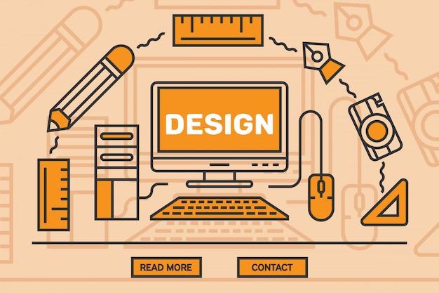 Design gráfico de linha plana