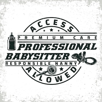 Design gráfico de logotipo vintage, carimbo de impressão, emblema de tipografia de babá