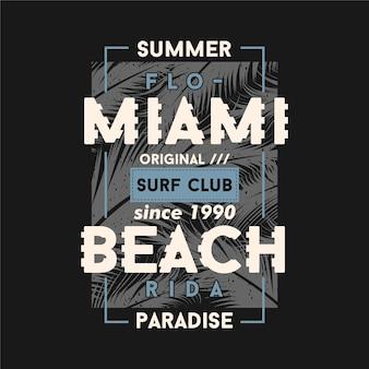 Design gráfico de moldura de texto de miami beach florida com tema de verão e fundo de palmeira