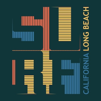 Design gráfico de t-shirt de surf. surf em long beach. os surfistas da califórnia usam o emblema da tipografia. design criativo. vetor