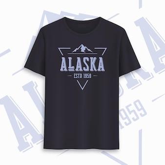 Design gráfico de t-shirt do estado do alasca, tipografia, impressão. ilustração vetorial.