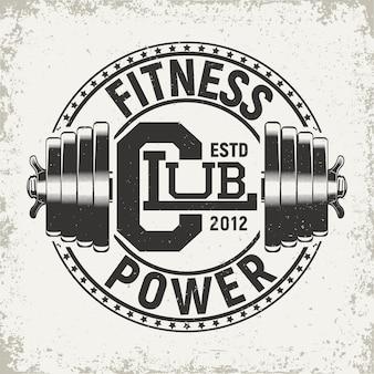 Design gráfico de t-shirt vintage, carimbo com impressão grange, emblema de tipografia fitness, logótipo de desporto de ginásio. design criativo
