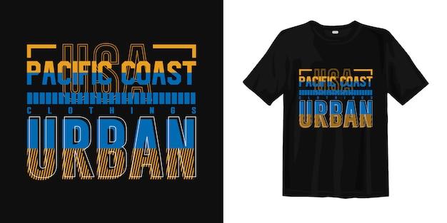 Design gráfico de vestuário de camiseta gráfica urbana da costa do pacífico para impressão