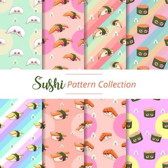 Design gráfico de vetor de sushi sem costura padrão