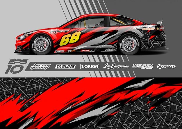 Design gráfico do decalque do envoltório do carro. corrida de listra abstrata.
