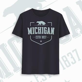 Design gráfico do t-shirt do estado de michigan, tipografia, impressão. ilustração vetorial