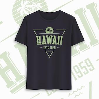 Design gráfico do t-shirt do estado do havaí, tipografia, impressão. ilustração vetorial.