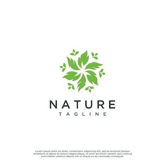 Design gráfico do vetor do logotipo da folha da natureza