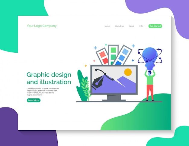 Design gráfico e página de destino de ilustração
