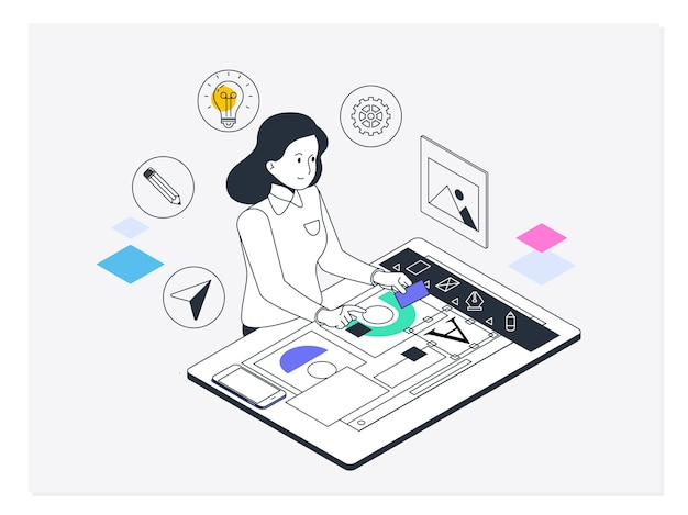 Design gráfico e web. conceito de processo criativo, design gráfico e web e desenvolvimento