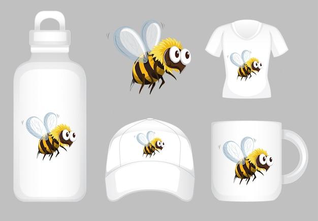 Design gráfico em diferentes produtos com abelha