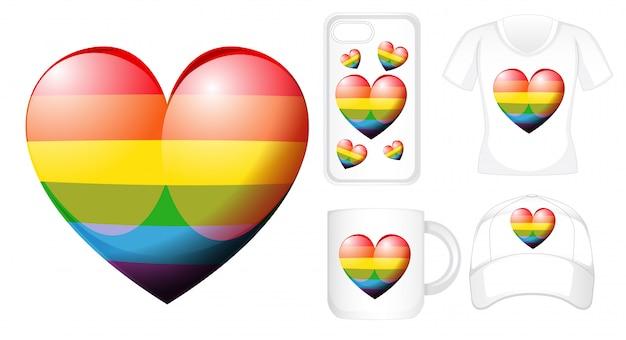 Design gráfico em diferentes produtos com coração de arco-íris