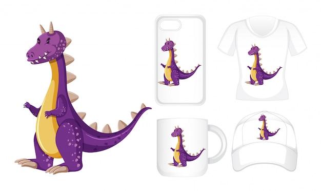 Design gráfico em diferentes produtos com dragão roxo