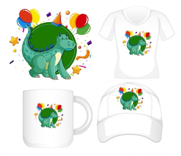 Design gráfico em diferentes produtos com dragão verde