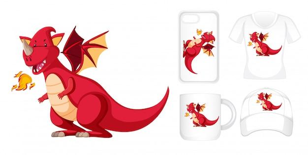 Design gráfico em diferentes produtos com dragão vermelho