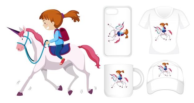 Design gráfico em diferentes produtos com garota montando unicórnio