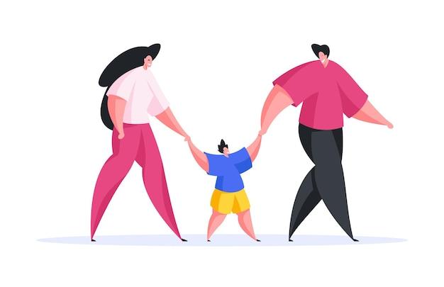 Design gráfico em estilo simples de homem feliz e mulher segurando as mãos do filho