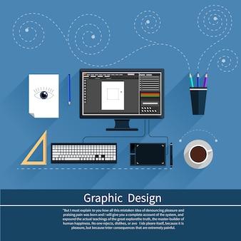 Design gráfico, ferramentas de designer e software em design plano com equipamento de design rodeado de computador