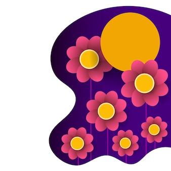Design gráfico floral primavera - com flores coloridas